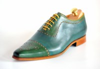 Bicolor handpainted oxfords blue-yellow-green 116-07 pic1