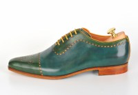 Bicolor handpainted oxfords blue-yellow-green 116-07 pic2